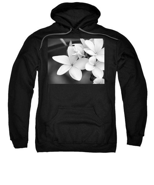 Beautiful Plumeria In Black And White Sweatshirt