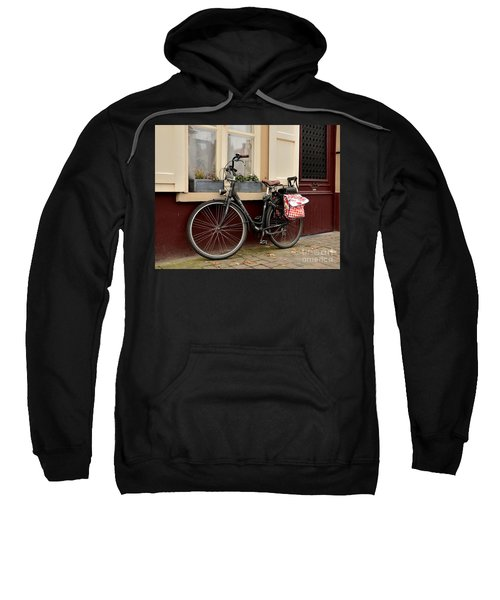 Bicycle With Baby Seat At Doorway Bruges Belgium Sweatshirt