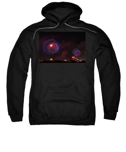 Blue Fireworks Over Domino Sugar Sweatshirt