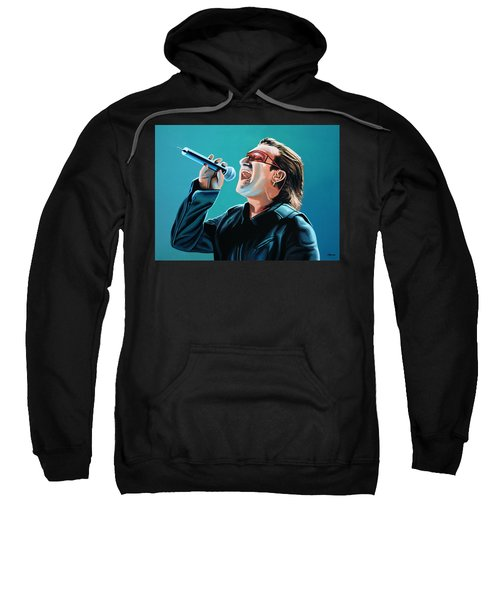 Bono Of U2 Painting Sweatshirt by Paul Meijering