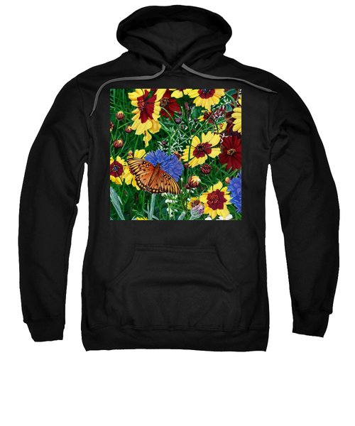 Butterfly Wildflowers Garden Floral - Square Format Image - Spring Decor - Green Blue Orange-2 Sweatshirt