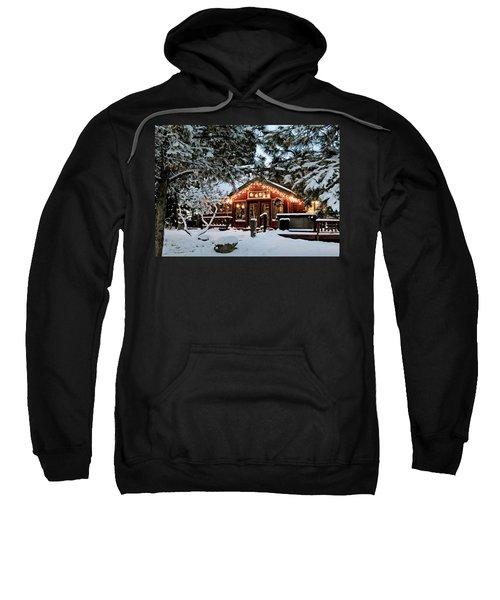 Cabin With Christmas Lights Sweatshirt