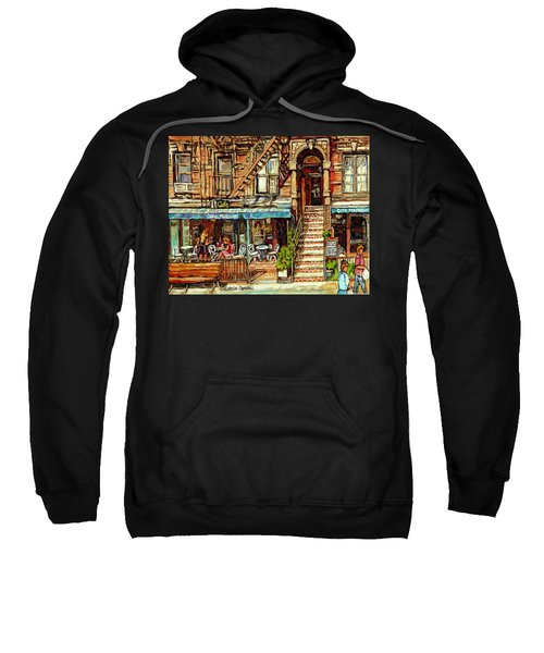 Cafe Mogador Moroccan Mediterranean Cuisine New York Paintings East Village Storefronts Street Scene Sweatshirt