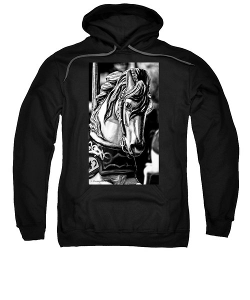 Carousel Horse Two - Bw Sweatshirt