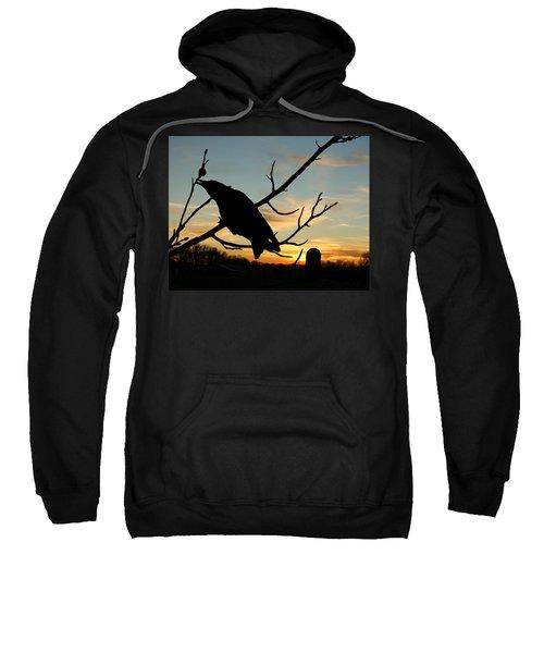 Cawcaw Over Sunset Silhouette Art Sweatshirt
