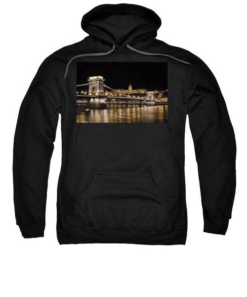 Chain Bridge And Buda Castle Winter Night Painterly Sweatshirt