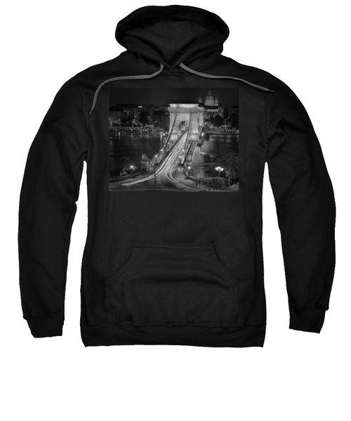 Chain Bridge Night Traffic Bw Sweatshirt