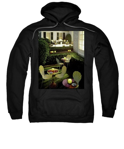 Chairs And Tables In A Garden Sweatshirt