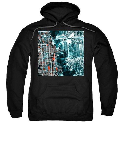 Chicago Map Drawing Collage Sweatshirt