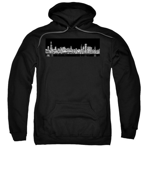 Chicago Skyline Fractal Black And White Sweatshirt by Adam Romanowicz