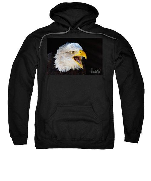 Closeup Portrait Of A Screaming American Bald Eagle Sweatshirt