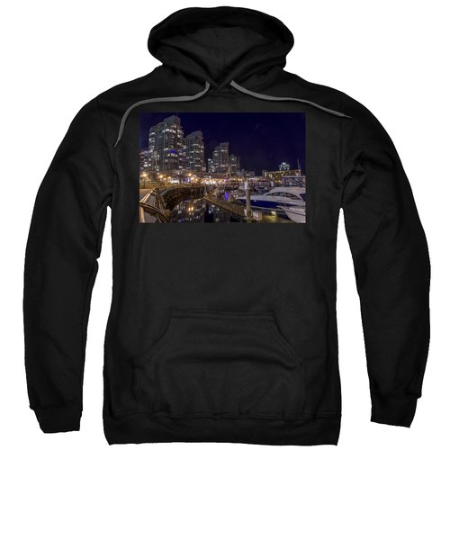 Sweatshirt featuring the photograph Coal Harbour By Night by Ross G Strachan