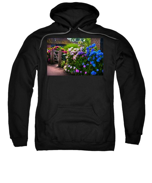 Colorful Hydrangea At The Gate. Giethoorn. Netherlands Sweatshirt