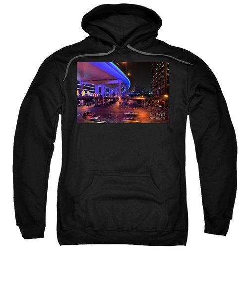 Colorful Night Traffic Scene In Shanghai China Sweatshirt