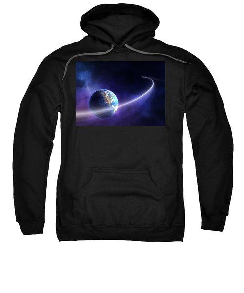 Comet Moving Past Planet Earth Sweatshirt