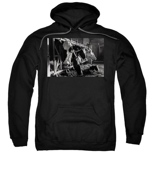 Sweatshirt featuring the photograph Cows In The Barn2 by Joseph Amaral