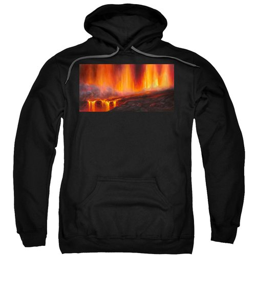 Erupting Kilauea Volcano On The Big Island Of Hawaii - Lava Curtain Sweatshirt