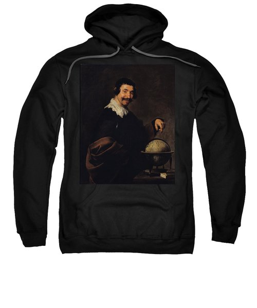 Democritus, Or The Man With A Globe Oil On Canvas Sweatshirt
