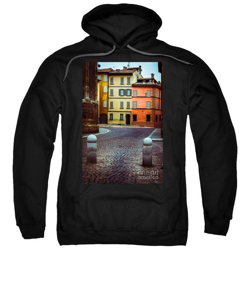 Deserted Street With Colored Houses In Parma Italy Sweatshirt