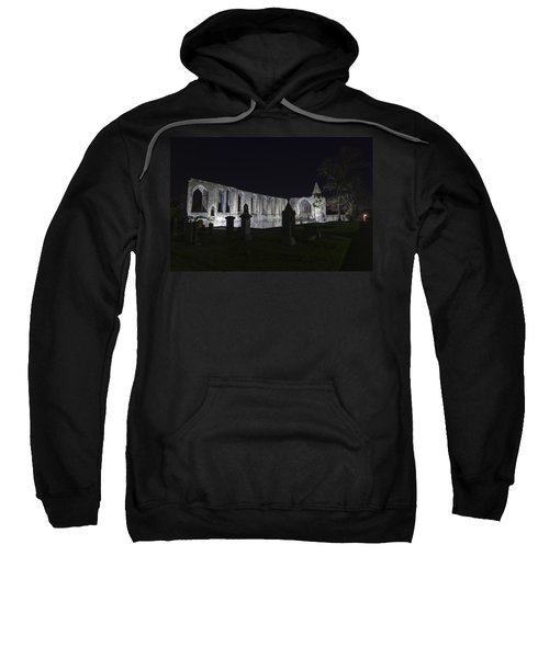 Sweatshirt featuring the photograph Dunfermline Abbey By Night   The Palace   6 Of 6 by Ross G Strachan