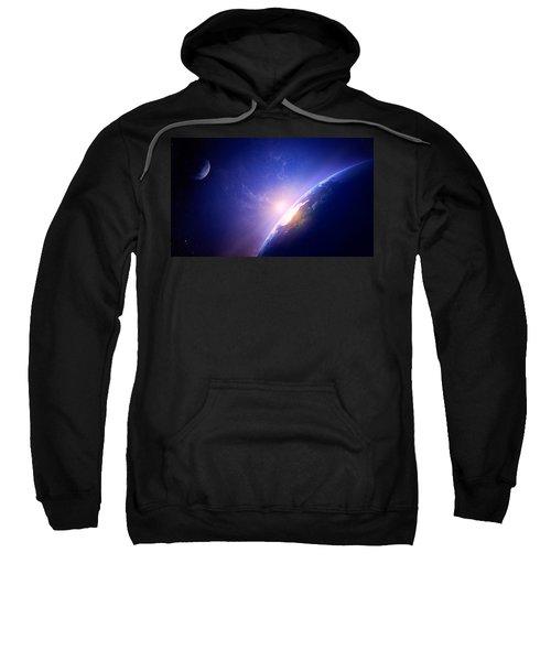 Earth Sunrise In Foggy Space Sweatshirt