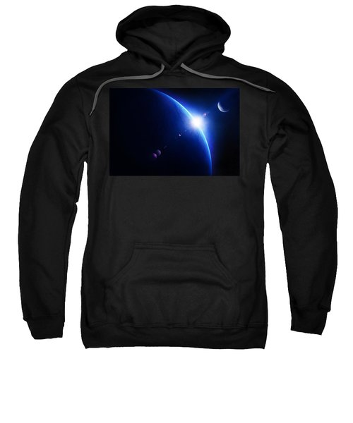 Earth Sunrise With Moon In Space Sweatshirt