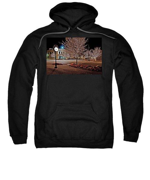Fairhope Ave With Clock Night Image Sweatshirt