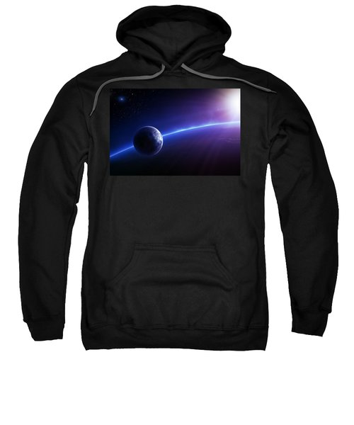 Fantasy Earth And Moon With Colourful  Sunrise Sweatshirt