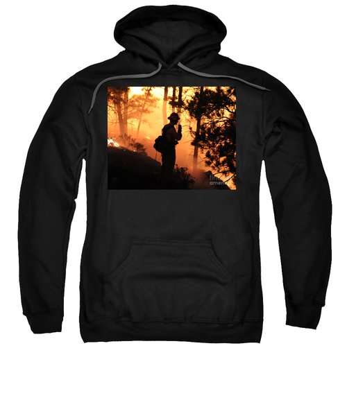 Firefighter At Night On The White Draw Fire Sweatshirt