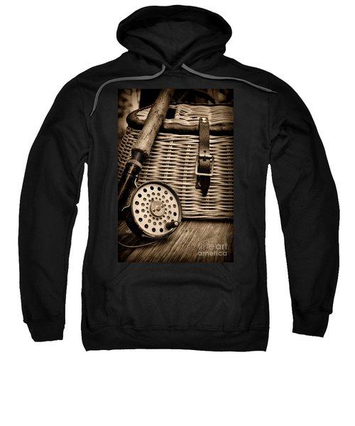 Fishing - Fly Fishing - Black And White Sweatshirt