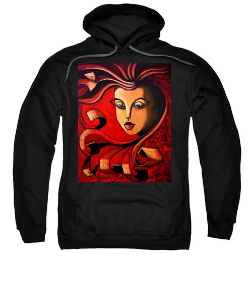 Sweatshirt featuring the painting Flaming Serenity by Oscar Ortiz