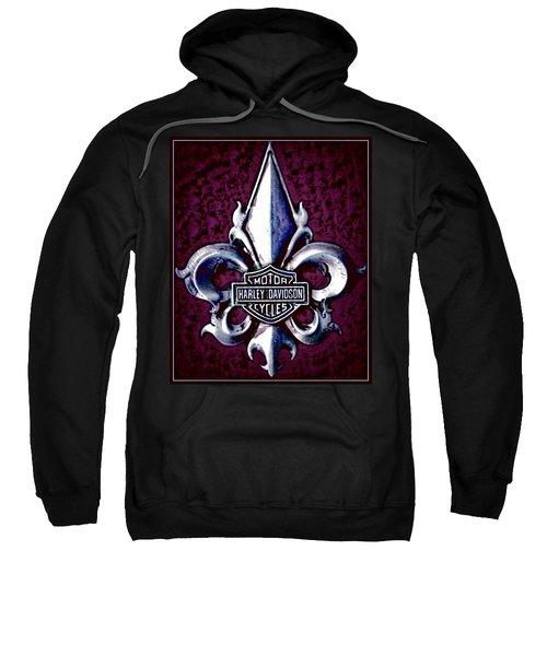 Fleurs De Lys With Harley Davidson Logo Sweatshirt