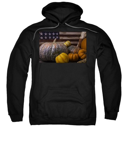 Folk Art Flag And Pumpkins Sweatshirt