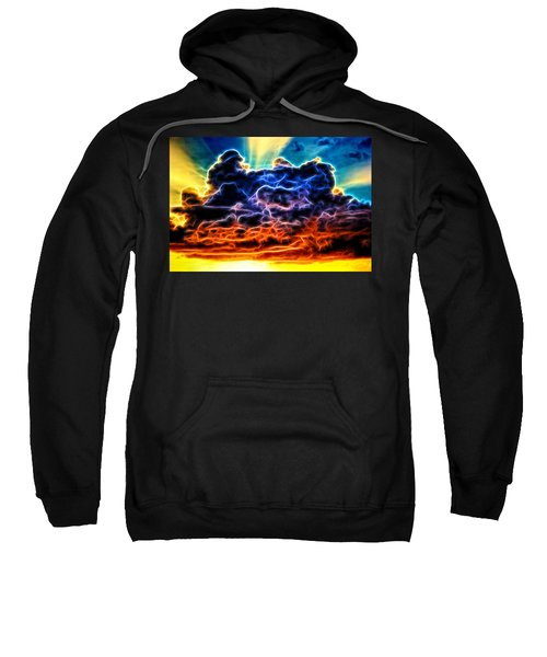 Funky Glowing Electrified Rainbow Clouds Abstract Sweatshirt
