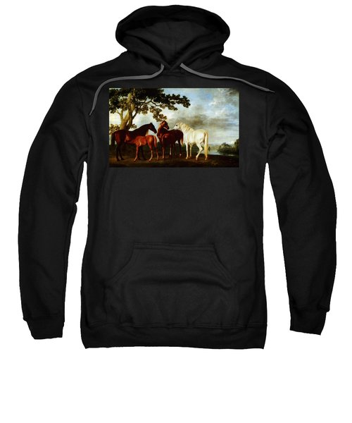 Sweatshirt featuring the painting Horses by George Stubbs