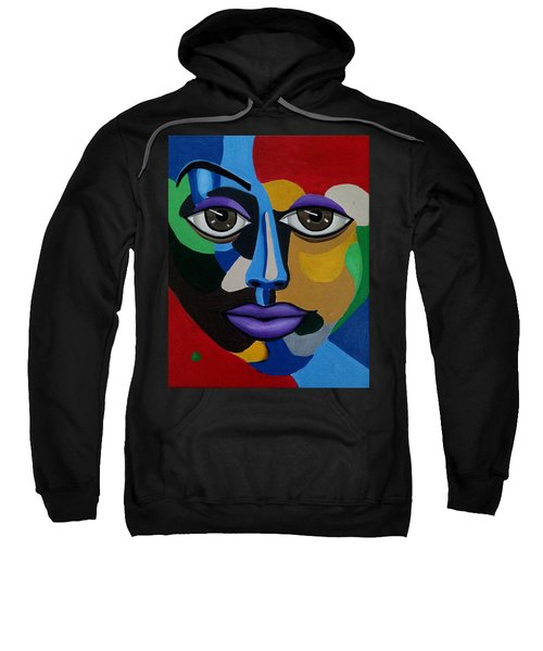Colorful Illusion Abstract Face Art Painting, Big Brown Eye Art, Optical Artwork Sweatshirt