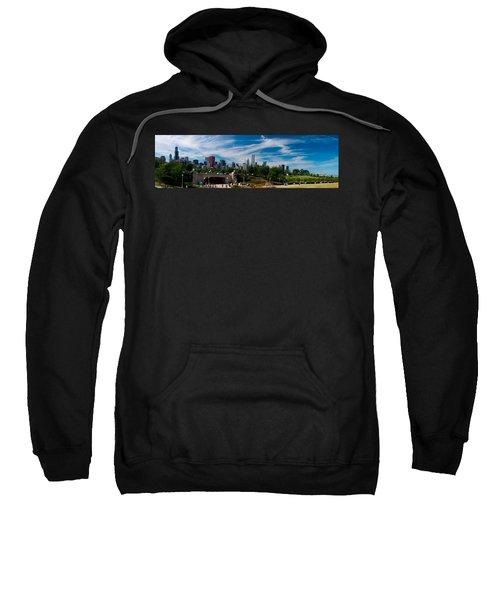 Grant Park Chicago Skyline Panoramic Sweatshirt by Adam Romanowicz