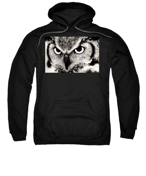 Great Horned Owl In Black And White Sweatshirt