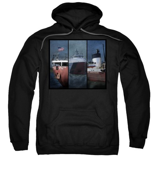 Great Lakes Freighter Triptych Arthur M Anderson Sweatshirt