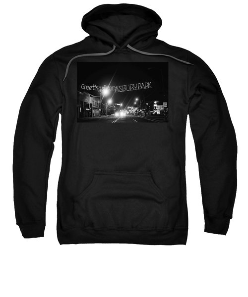Greetings From Asbury Park New Jersey Black And White Sweatshirt