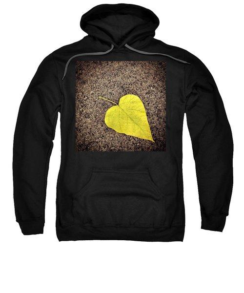 Heart Shaped Leaf On Pavement Sweatshirt