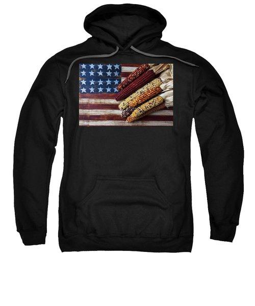 Indian Corn On American Flag Sweatshirt