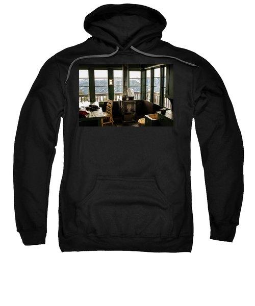Inside A Fire Lookout In Winter Sweatshirt