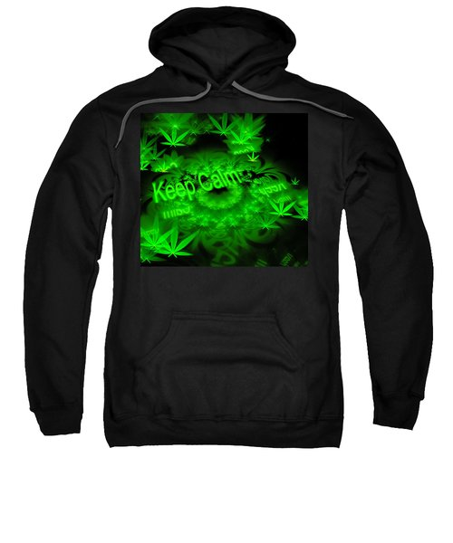 Keep Calm - Green Fractal Weed Art Sweatshirt
