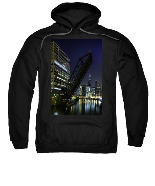 Kinzie Street Railroad Bridge At Night Sweatshirt
