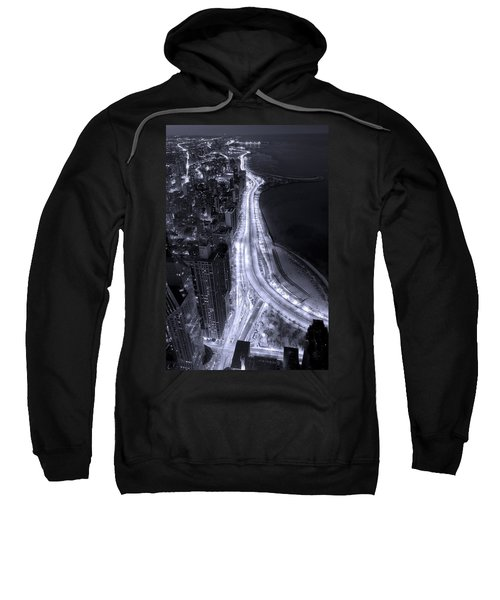 Lake Shore Drive Aerial  B And  W Sweatshirt