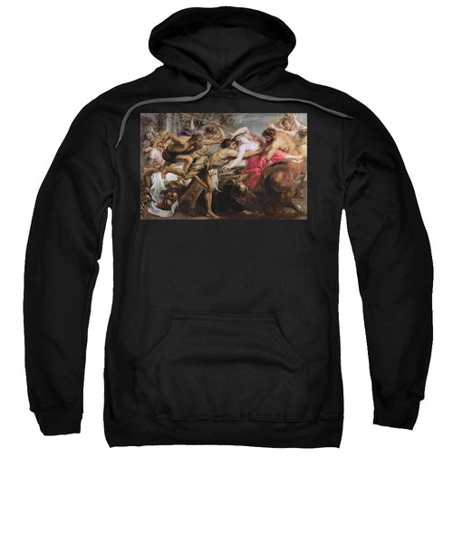 Lapiths And Centaurs Oil On Canvas Sweatshirt by Peter Paul Rubens