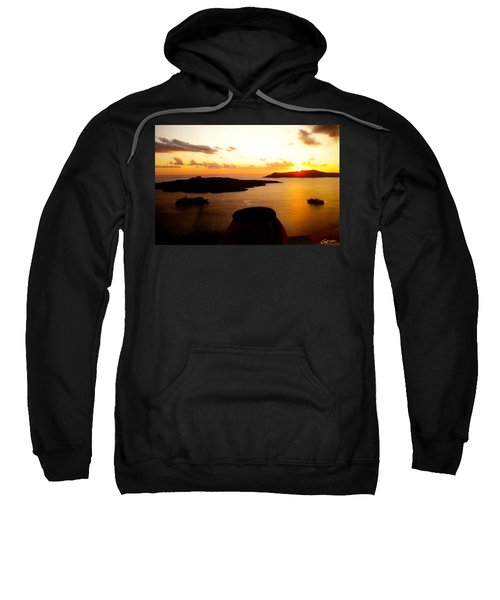 Late Sunset Santorini  Island Greece Sweatshirt