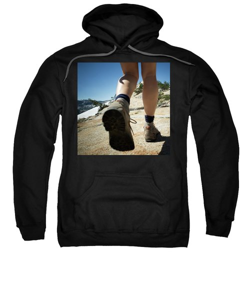 Legs And Feet Of A Female Hiker Going Sweatshirt