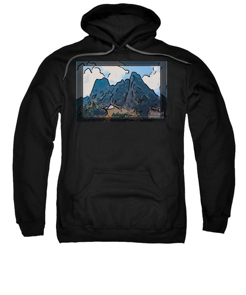 Liberty Bell Mountain Abstract Landscape Painting Sweatshirt